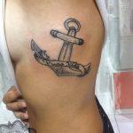 anchor tattoo, hand poking, suku suku tatau