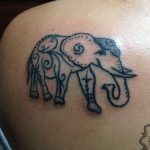 elephant tattoo, hand poking