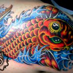 modern fish tattoo, color tattoo, suku suku tatau